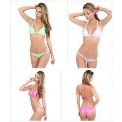 Neckholder Push Up Wetlook Hologramm Bikini mit Strass