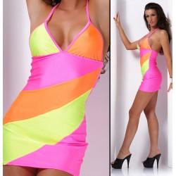 Stretch Party Neckholder Minikleid 3 farbig