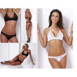 Nylon Dessous Set mit Stringtanga & Strass