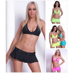 Bikini Neckholder Top + Minirock mit Strass