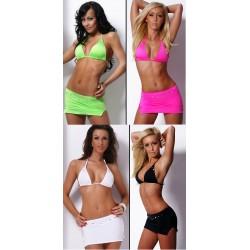 Neckholder Bikini Top + Minirock mit Swarovski Strass