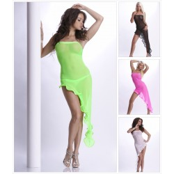 Asymetrisches Nylon Bandeau Latinokleid Tanzkleid