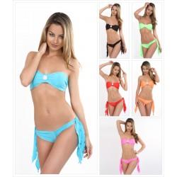 Bandeau Bikini mit Brosche Strass Zweiteiler mit Panty Hotpants