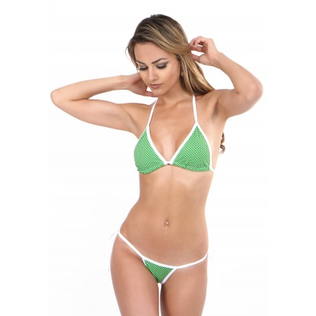 Neckholder Mini String  Bikini grün weiß